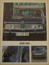 BMW 2000 Saloon 1967-68 Original UK Single Sheet Sales Brochure Pub No 12246e40