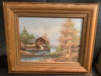 W. Zeller Watermill Scene Oil Painting on Canvas Hecho En Mexico Frame VTG Rare