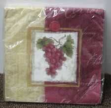 VINEYARD GRAPES LUNCHEON NAPKINS Wine Cheese Cocktail Party Reception Garden NEW