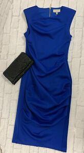 Blue Coast Dress Ruched Scuba Zip Detail Sizes 6 8 10 12 18 20 Evening Party
