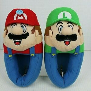 MARIO & LUIGI Novelty Plush Costume Slippers Kid Youth Size 4-5 NWT *READ*
