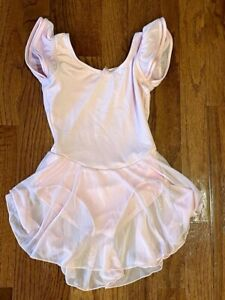 Capezio Pink Flutter Sleeve Leotard Skirt Dance Dress, Size Intermediate (6-6X)