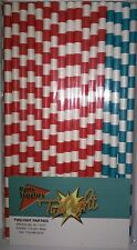 Dr Seuss Inspired Color Themed Red & Aqua Drinking Straws 50ct. Twilight Parties