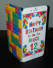 Personalised 3D Lego/Building Blocks Mobile/Phone (Son/Grandson) Birthday Card