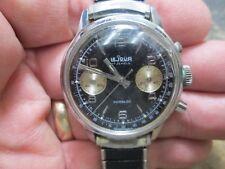 VINTAGE LEJOUR CHRONOGRAPH 2 REGISTER CLEAN ORIGIN PANDA DIA RUNNING WRIST Watch