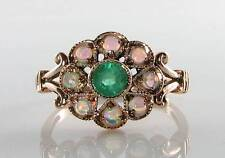SUN MOON STAR 9CT 9K ROSE GOLD COLOMBIAN EMERALD & OPAL RING FREE RESIZE