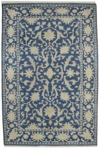Slate Blue Distressed 4X6 Classic Floral Design Oriental Area Rug Decor Carpet