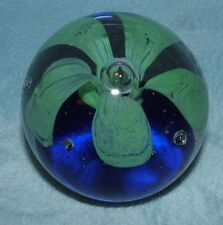 """Clear Glass Bubble Blue Flower Paperweight 3 1/2"""""""