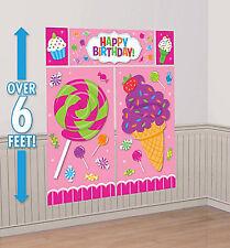 SWEET TREATS Scene Setter HAPPY BIRTHDAY party wall decor kit candy ice cream