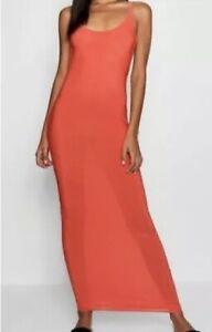 BOOHOO Maxi Dress Orange Round Neck Open Back Bodycon Sleeveless Tall UK Size 12