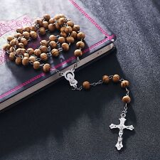 Men's Women's virgin Mary Jesus Wood Cross Pendant & Rosary Beads Necklace Chain