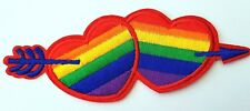 RAINBOW GAY LESBIAN PRIDE HEARTS PATCH  Embroidered patch iron on for clothing