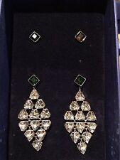 Swarovski Swan signed Interchangeable Green/black crystal  pierce earrings