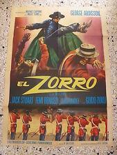 T2 MANIFESTO ORIGINALE 2F EL ZORRO LA VOLPE GUIDO ZURLI GEORGE ARDISSON