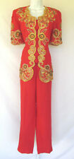 VINTAGE 1980s DONNA VINCI ITALY PANT & JACKET SUIT LINEN RAYON BEADS EMBROIDERY