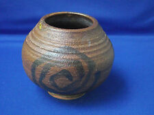 Heavy Rustic Dark Brown Studio Art Pottery Pot Swirl Design Mustard Green Drip