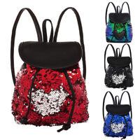 Mermaid Sequin Backpack Daypack Leather Drawstring Shoulder Travel Bag Schoolbag