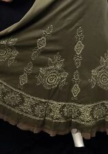Exquisite Coldwater Creek Embroidered Olive Green Skirt Medium