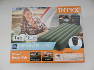Intex Dura-Beam Series Twin Deluxe Airbed with Portable Pump New