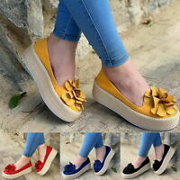Women Casual Platform Slip On Sneakers Comfort Flat Plimsoll Pump Loafers Shoes