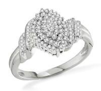 Diamond Cluster Ring 10K White Gold White Diamond Oval Cluster Ring .25ct
