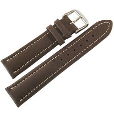 22mm Mens Fluco Chrono Nabucco Smooth Brown Leather German Made Watch Band Strap