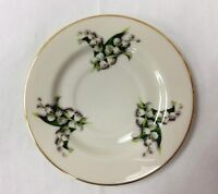 """FINE ARTS """"LILY OF THE VALLEY"""" TEA SAUCER 6"""" FLORAL IVORY CHINA/GOLD TRIM"""