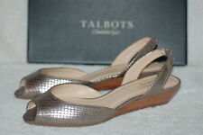 Talbots Peep Toe Sling Back Leather Sandals - Silver Brown Reptile Pattern - 10W