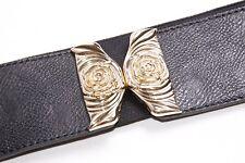 Stunning Chic Women Black Elastic Wide Waist Belt w Gold Metal Rose Buckle(S344)