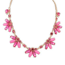Gold Chain Flower Leaf Choker Chunky Statement Bib Collar Necklace 4 Colors UK