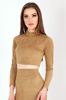 NEW WOMENS TURTLE NECK CROP LADIES LONG SLEEVE SUEDE POLO TOP CAMEL SIZE 6-12 UK