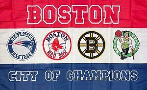 New England Patriots Boston Celtics Red Sox Bruins Flag 3x5 ft Banner Man-Cave