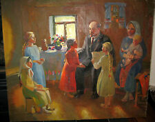 LARGE OLD RUSSIAN ARMENIAN SOVIET OIL PAINTING PILOYAN LENIN CHILDREN GIRLS 60s