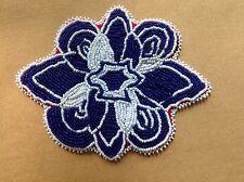 Native American Beaded Applique On Felt Flower Blue And White