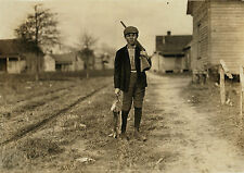 "Old Time Photo, 1908, Young Hunter, Hunting Rabbit, 14""x10"", Rifle antique sport"