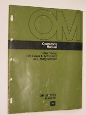 John Deere 100 Riding Lawn Tractor And 34 Mower Deck Operators Manual