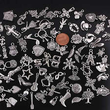 100pcs Bulk Wholesale Mixed Tibetan Silver Beads Pendant Charms Jewelry Findings