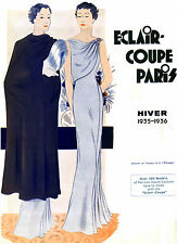 1935 Winter Eclair Coupe Paris Pattern Book Reprint, Evening Dresses