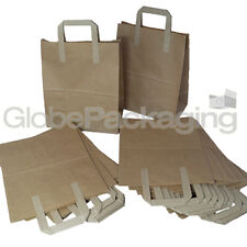 "100 x BROWN KRAFT PAPER FOOD CARRIER BAGS 8"" x 4"" x 10"" TAKEAWAY FOOD PARTIES"