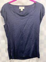 Ann Taylor LOFT Navy Blue Shirt Top Women's Size M