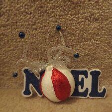 """Blue & Red Ball Ornament """"Noel"""" Foam Package Sticker"""
