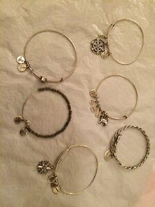 Alex and Ani Shiny Silver Charm Bangle Bracelets Set !!!