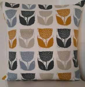 CUSHION COVERS RETRO FLOWERS WHITE SAFFRON MUSTARD GREY DUCK EGG SCATTER COVERS