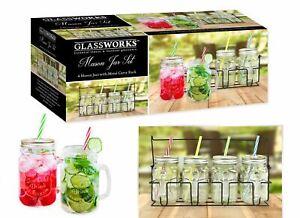 Mason Jar Drinking Glass Set of 4 Carry Rack Cocktail BBQ 400ml Includes Straws