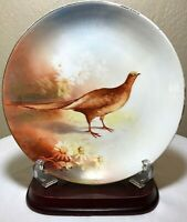 """Antique 1891-1920 LS&S Limoges France Pheasant Hand Painted & Signed Plate 9.25"""""""
