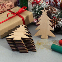 10 Wooden Christmas Tree Craft Shapes Blanks Hanging Decorations Gift Tags Plain
