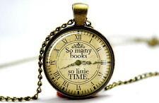 Clock01 - So Many Books So Little Time - Photo Glass Dome Necklace Pendant Gift