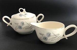 Vintage SUGAR BOWL LID & CREAMER SET Blue Flowers Grey Leaves Silver Trim