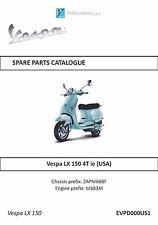 Piaggio Vespa parts manual book 2010 Vespa LX150 4T ie (USA)