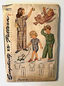 Vintage 1950s SIMPLICITY Sewing Pattern Childs Girls Boys Toddler PAJAMAS Size 4